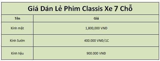 giá phim Classis cho xe ô tô 7 chỗ