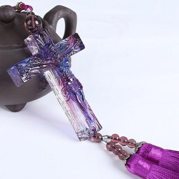 ngọc bội chúa giê su chữ thập màu tím