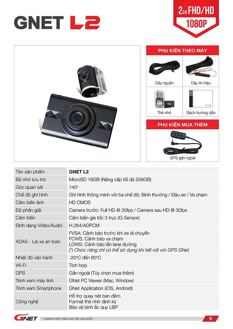 Thông số kĩ thuật camera hành trình gnet l2